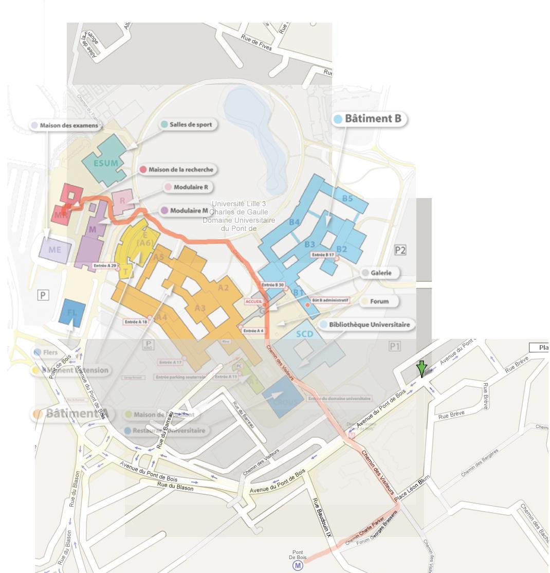 From Metro Point De Bois To Maison De La Recherche Universite De Lille  You Should Follow The Red Path